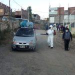 Desinfección de vehículos en Feria Itinerante en estadio Rosaspata