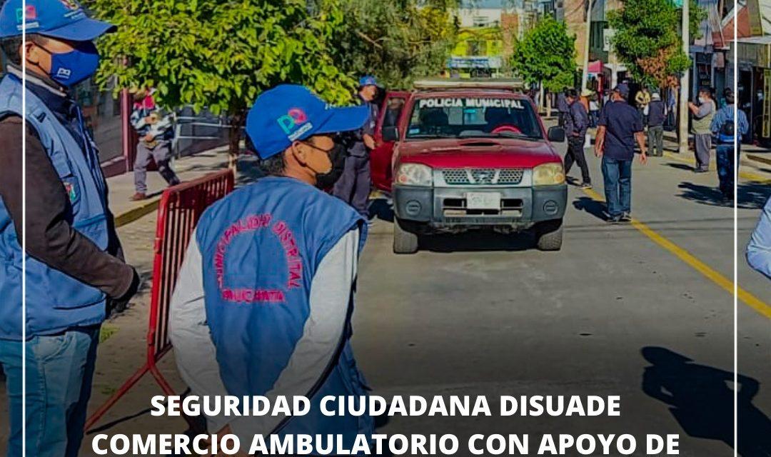 TRABAJAMOS POR LA SEGURIDAD DE TODOS LOS VECINOS  SEGURIDAD CIUDADANA DISUADE COMERCIO AMBULATORIO EN EXTERIORES DE LA GERENCIA DE TRANSPORTES