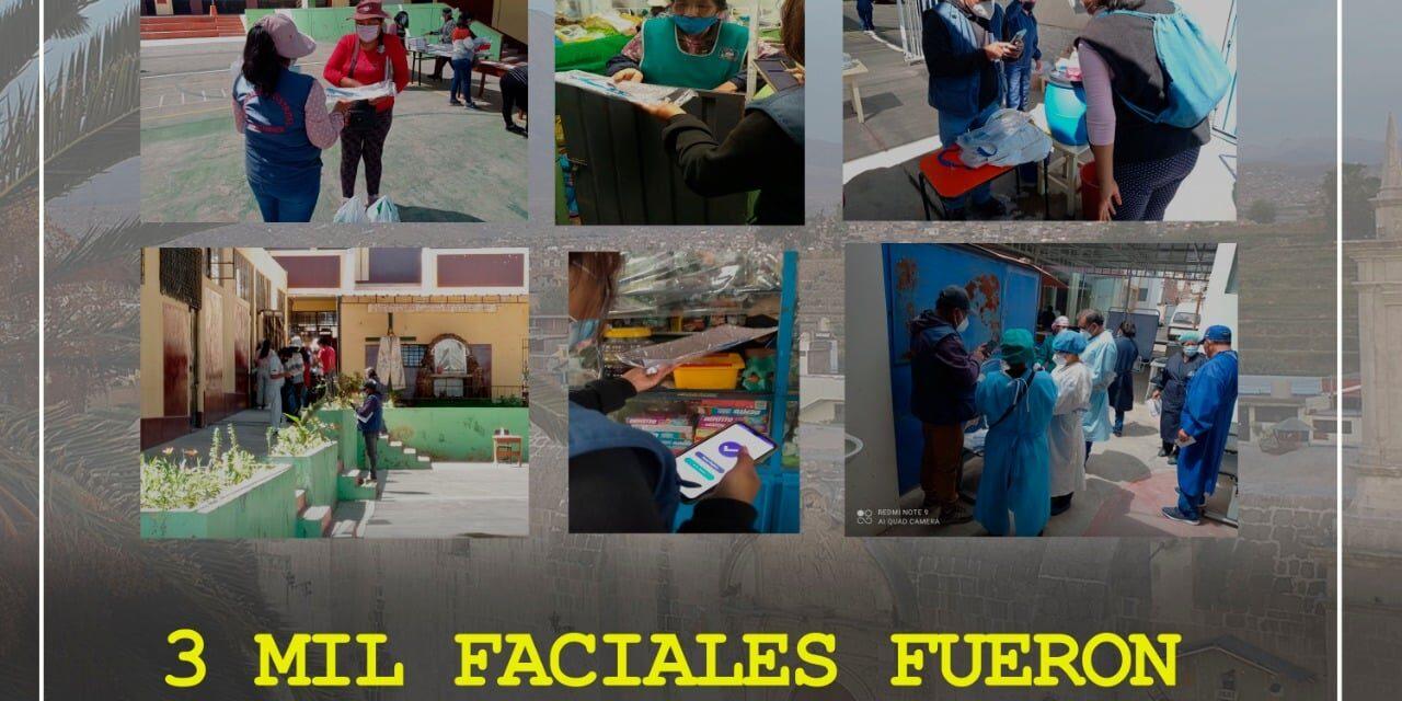 La Municipalidad Distrital de Paucarpata a través de la subgerencia de Promoción Social Participación Vecinal y SISFOH culminó con satisfacción el reparto de 3000 mil faciales
