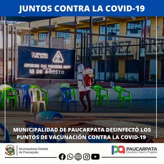 PUNTOS DE VACUNACIÓN DE PAUCARPATA FUERON DESINFECTADOS