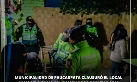 """LOCAL """"EL CHAVAL"""" FUE CLAUSURADO POR REALIZAR FIESTA CHICHA EN MIGUEL GRAU"""