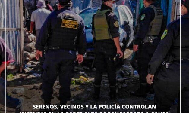 SERENOS, VECINOS Y LA POLICÍA CONTROLAN INCENDIO EN LA PARTE ALTA DE PAUCARPATA
